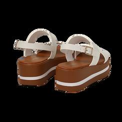 Sandali platform bianchi in eco-pelle, zeppa 5 cm , Primadonna, 132147512EPBIAN, 004 preview