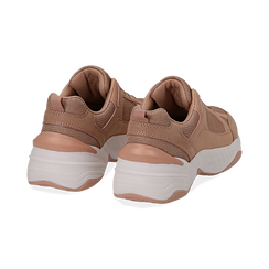 Dad shoes nude in microfibra, zeppa 4,50 cm, Sneakers, 142619462MFNUDE036, 004 preview
