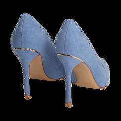 Décolleté azzurre in microfibra, tacco 11 cm, Primadonna, 152146861MFAZZU037, 004 preview