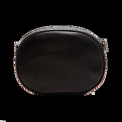 Tracolla nera in ecopelle con oblò dorati, Borse, 123308609EPNEROUNI, 002 preview
