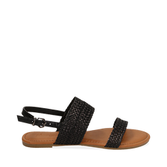 Sandali flat neri in eco-pelle intrecciata, Primadonna, 133600111EINERO035, 001a