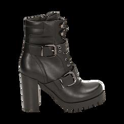 Biker boots con fibbie neri in eco-pelle, tacco 9,5 cm , 142898735EPNERO035, 001a