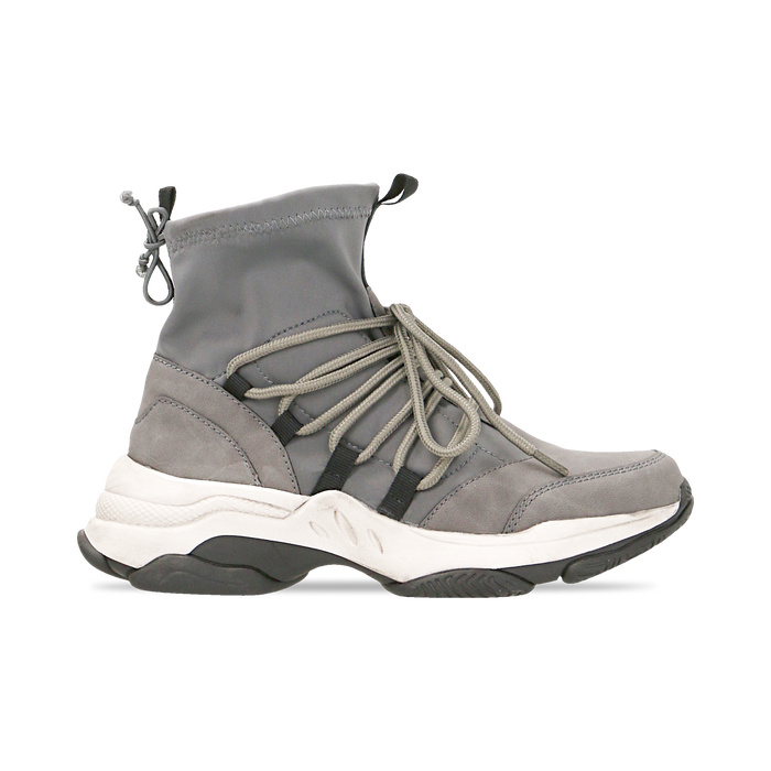 Sneakers grigie dad shoes a calza in lycra, Primadonna, 124108060LYGRIG035