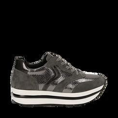 Sneakers platform grigie in eco-pelle, effetto snake skin, zeppa 4 cm , Scarpe, 142892263EVGRIG036, 001a
