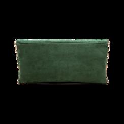 Pochette verde in microfibra scamosciata, Saldi Borse, 123308714MFVERDUNI, 002 preview