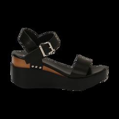 Sandali platform neri in eco-pelle, zeppa 7 cm, Primadonna, 132147321EPNERO035, 001 preview