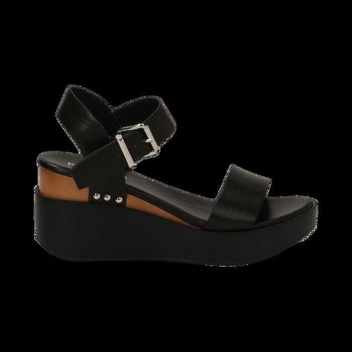 Sandali platform neri in eco-pelle, zeppa 7 cm, Primadonna, 132147321EPNERO035