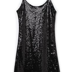 Mini-dress nero in tessuto e paillettes , Primadonna, 13A207801PLNEROL, 002a