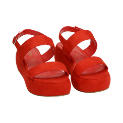 Sandali rossi in microfibra, zeppa 5 cm , Zapatos, 159790136MFCORA036, 002 preview