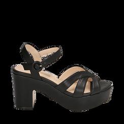Sandali neri in microfibra, tacco zeppa 8,50 cm, Chaussures, 158480211EPNERO035, 001a