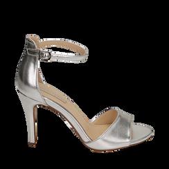 Sandali argento in eco-pelle laminata, tacco 9,5 cm, Sandali con tacco, 154901361LMARGE035, 001a