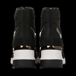 Sneakers a calza nere in tessuto tecnico, zeppa 6 cm , Scarpe, 14A718203TSNERO036, 003 preview