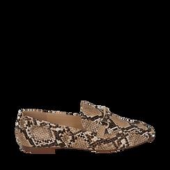 Mocassini beige in eco-pelle snake print, Primadonna, 154939181PTBEIG035, 001a