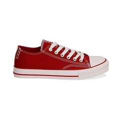 Sneakers rosse in canvas, Scarpe, 137300862CAROSS036, 001 preview