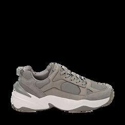 Dad shoes grigie in microfibra, zeppa 4,50 cm, Sneakers, 142619462MFGRIG035, 001a
