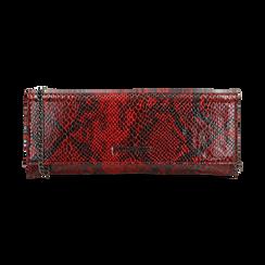 Pochette piatta rossa in eco-pelle snake print,