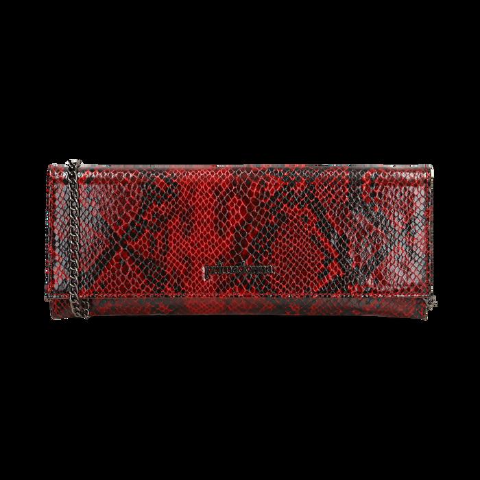 Pochette piatta rossa in eco-pelle snake print, Primadonna, 145122510PTROSSUNI