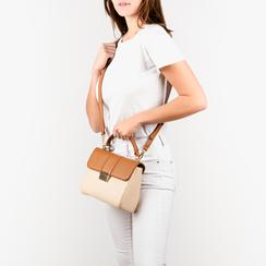 Mini bag beige in eco-pelle e rafia, Borse, 152392479RFBEIGUNI, 002 preview