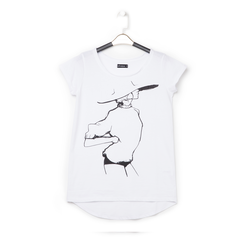 T-shirt bianca in tessuto con stampa nera minimal , Abbigliamento, 13I730076TSBIANL, 001a