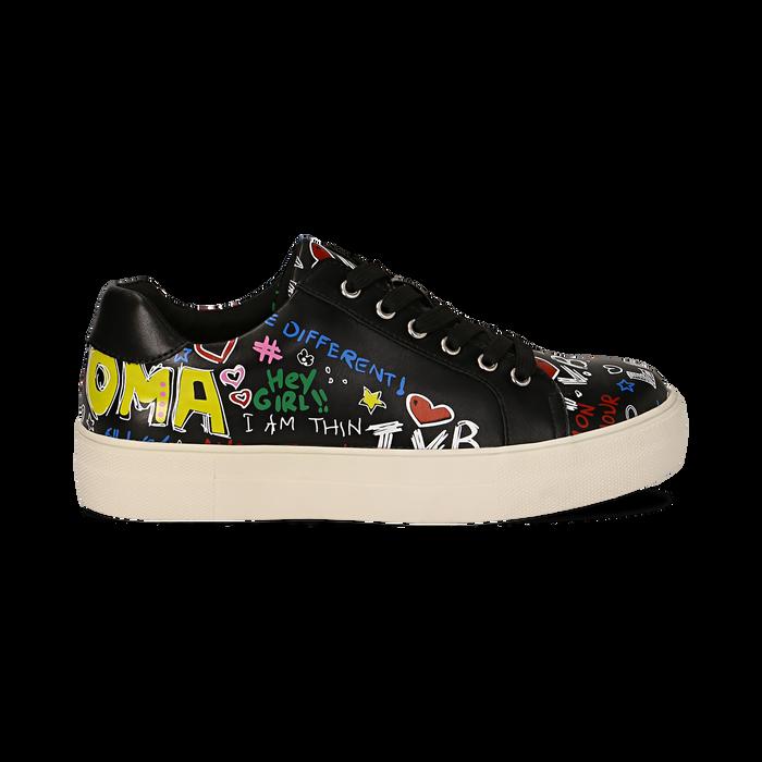 Sneakers nere in eco-pelle con scritte cartoon , Scarpe, 139301164EPNERO036