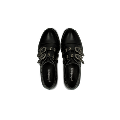 Flat con fibbia nera e borchiette, Scarpe, 129306611EPNERO, 004 preview
