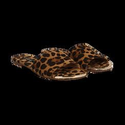 Mules flat leopard in microfibra,