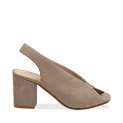 Slingback taupe in camoscio, tacco 8 cm , Primadonna, 13D602014CMTAUP036, 001a