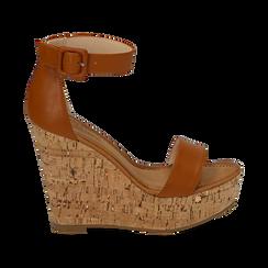 Sandali cuoio, zeppa 12 cm, Scarpe, 154981001EPCUOI, 001 preview