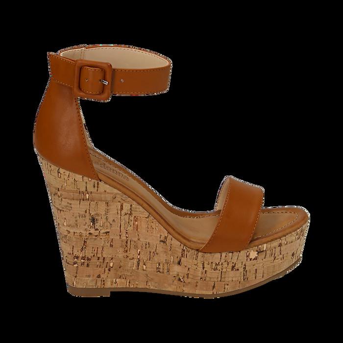 Sandali cuoio, zeppa 12 cm, Scarpe, 154981001EPCUOI