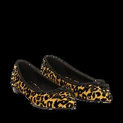 Ballerine a punta gialle leopard in microfibra , Scarpe, 144920961MFGILE035, 002a