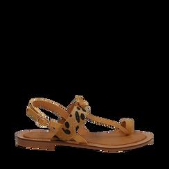 Sandali infradito beige in eco-pelle con dettaglio leopard, Primadonna, 135201202EPBEIG035, 001a