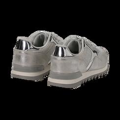Sneakers argento in tessuto laminato e dettagli mirror, Scarpe, 130100107LMARGE036, 004 preview