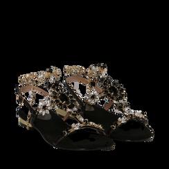 Sandali gioiello flat neri in microfibra, Primadonna, 134994222MFNERO035, 002a
