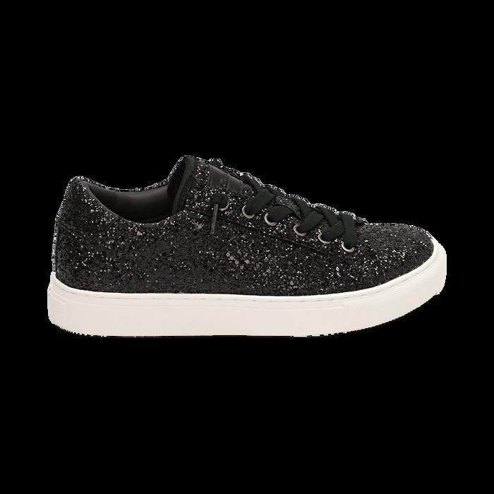 Sneakers nere glitter, Primadonna, 162600308GLNERO035