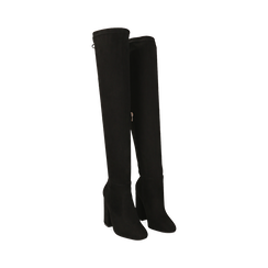 Overnkee neri in microfibra, tacco 10 cm , Stivali, 142179696MFNERO035, 002 preview