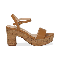 Sandali cuoio in eco-pelle, tacco in sughero 9 cm, Primadonna, 138402256EPCUOI036, 001 preview