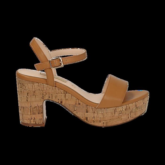 Sandali cuoio in eco-pelle, tacco in sughero 9 cm, Primadonna, 138402256EPCUOI036