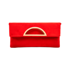 Pochette rossa in microfibra scamosciata, Saldi, 123308714MFROSSUNI, 001 preview