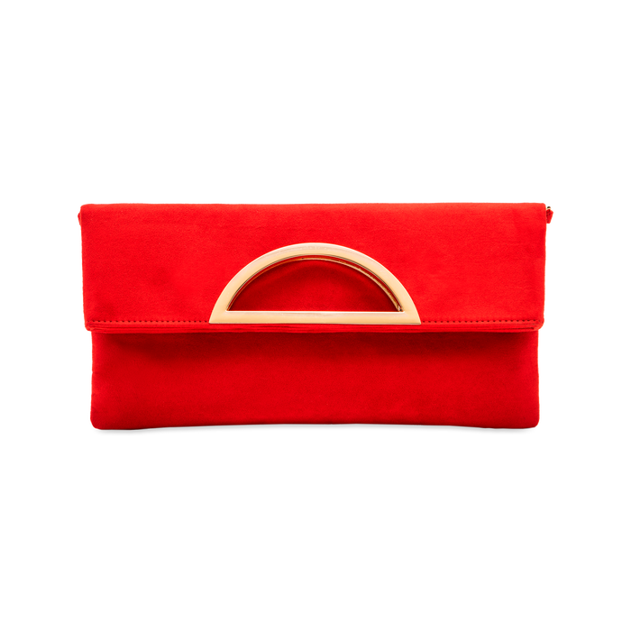 Pochette rossa in microfibra scamosciata, Saldi, 123308714MFROSSUNI