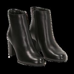 Ankle boots neri in pelle, tacco 7 cm , Scarpe, 14D601101PENERO036, 002a