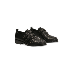 Stringate fibbia nera con mini-borchie, Scarpe, 129382510EPNERO036, 002 preview