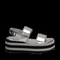 Sandali platform argento in eco-pelle, zeppa 6 cm , Saldi, 132175017LMARGE035, 001a
