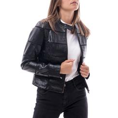 Biker jacket nera in eco-pelle effetto cocco , Abbigliamento, 146518265CCNERO3XL, 001a
