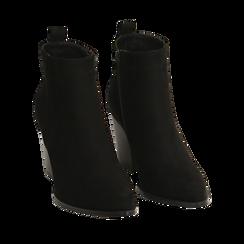 Ankle boots neri in microfibra, tacco 8,50 cm, Primadonna, 160585965MFNERO035, 002a