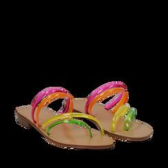 Sandali flat multilistino fluo multicolor in pvc, Primadonna, 134950613PVMULT036, 002a