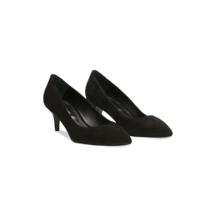 Décolleté nere Kitten heels in vero camoscio, tacco 3 cm, Scarpe, 12D617210CMNERO, 002 preview