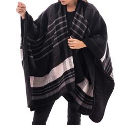 Poncho nero a righe in tessuto , Abbigliamento, 14B404071TSNEROUNI, 001 preview