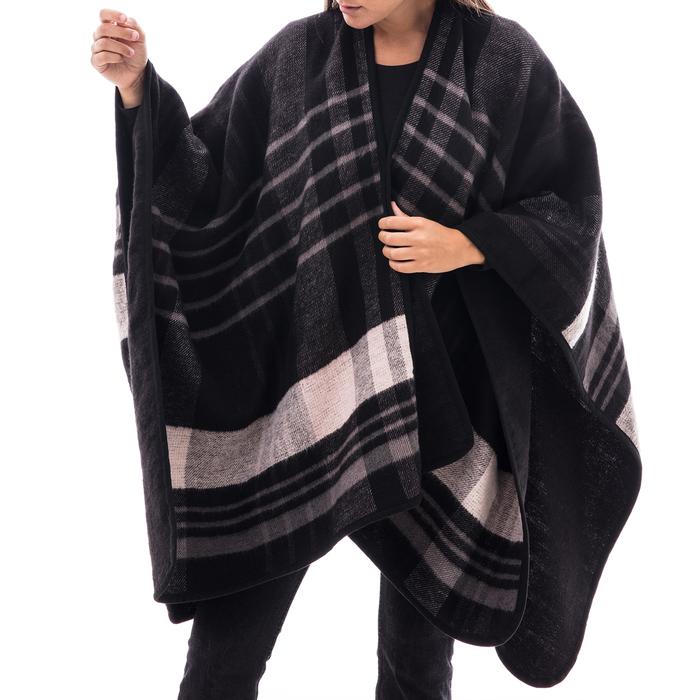 Poncho nero a righe in tessuto , Abbigliamento, 14B404071TSNEROUNI