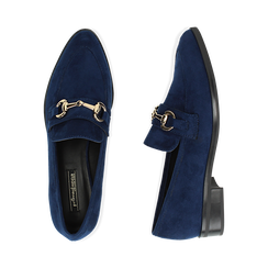 Mocassini blu in microfibra, Scarpe, 164964141MFBLUE035, 003 preview