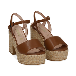 Sandali cuoio in eco-pelle con plateau, tacco 11 cm , Scarpe, 133401986EPCUOI036, 002 preview